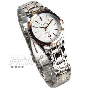 DEJAVU 簡約時刻防水腕錶 學生手錶 不銹鋼帶 日期顯示窗 女錶 小款 玫瑰金 5018G玫白小