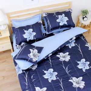 盛情百合 單人鋪棉床罩組(3.5x6.2呎)五件式(100%純棉)深藍色[艾莉絲-貝倫] MIT台灣製T5H-F-192-BU-S