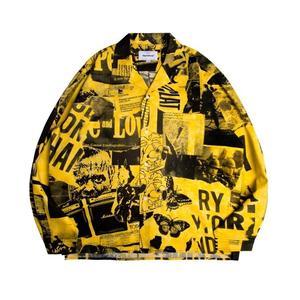 外套 搖滾主題元素滿版印花襯衫 熊熊物語