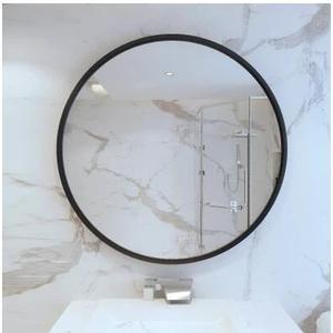 北歐圓形浴室鏡衛生間鏡子洗手台壁掛鏡子洗手間廁所鐵藝裝飾鏡子【(直徑60cm)】