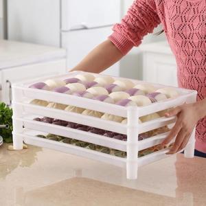 廚房食品收納盒餃子盤塑料盤子水餃盤托盤速凍冷凍長方形冰櫃專用【元氣少女】