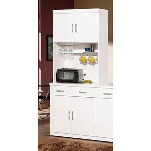 【森可家居】祖迪白色2.7尺雙門碗碟櫃 (上+下) 8ZX935-3 餐櫃 收納廚房櫃 中島 北歐風
