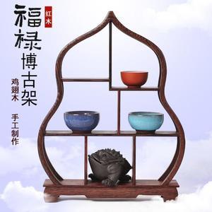 紅木小博古架 雞翅木質展示架 實木紫砂茶壺架子工藝品擺件茶葉架