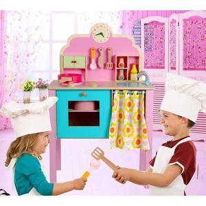 *幼之圓*最新款~實木製~草莓仿真超大立式彩色廚房組~粉嫩大廚房~仿真家家酒玩具~