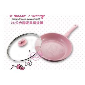 ♥小花花日本精品♥Hello Kitty粉紅 陶瓷28cm深平底鍋可愛附蝴蝶結鍋蓋矽膠隔熱鍋墊下廚預購