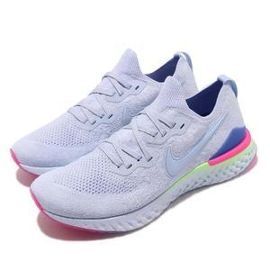 Nike 慢跑鞋 Epic React Flyknit 2 白 藍 桃紅 二代 發泡材質中底 緩震舒適 男鞋 運動鞋【PUMP306】 BQ8928-453