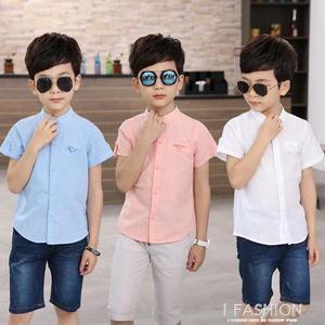 男童短袖襯衫兒童白襯衫夏季新款夏裝寶寶純棉襯衣男孩白襯衫-ifashion