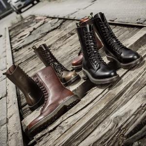 皮靴高筒軍靴防水長筒靴子馬丁靴男英倫【不二雜貨】