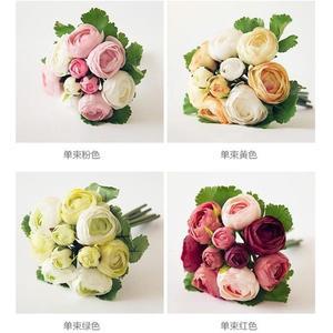春季上新 茶玫把束仿真花 歐式茶花束花藝玫瑰花盆栽假花絹花 餐桌裝飾花
