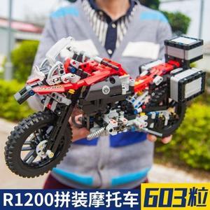 越野機車拼裝積木車兼容樂高寶馬R1200GS模型男孩 熊熊物語