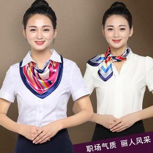職業裝絲巾銀行空姐制服小方巾女春夏季真絲圍巾