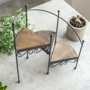 復古鐵藝樓梯形花架牆上小盆栽擺件置物架子盆栽置物架  米菲良品