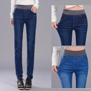 窄管褲 高腰牛仔褲女碼鬆緊腰牛仔小腳長褲女鉛筆