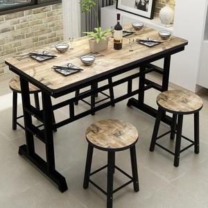 餐桌 簡約鐵藝快餐桌小吃店桌食堂飯店餐桌椅組合大排檔現代餐廳桌椅凳 莎瓦迪卡