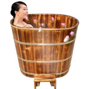 加高不占地木桶浴桶成人泡澡木桶洗澡桶實木浴缸家用洗澡盆沐浴桶HRYC 尾牙【喜迎新年鉅惠】