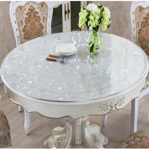 加厚PVC圓形軟玻璃桌墊透明防水餐桌布台布水晶板茶几桌墊可訂製wy