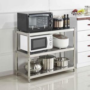 廚房用品置物架3層微波爐架子收納儲物鍋架不銹鋼落地三層烤箱架 英雄聯盟MBS