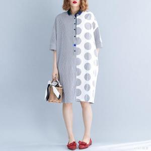 中大尺碼排扣洋裝夏文藝寬鬆大碼豎排扣短袖連身裙條紋波點拼接洋氣襯衣裙DC1876【VIKI菈菈】