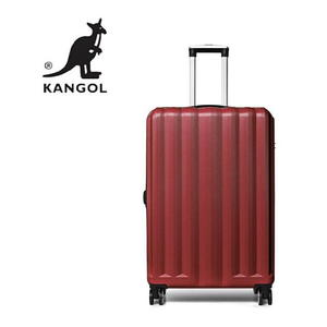 KANGOL- 英國時尚 百搭經典拉鍊可擴充 旅行箱/行李箱-24吋 紅