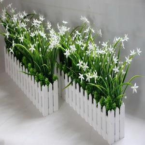 仿真綠色植蘭花草柵欄假花塑料花桌面隔斷擺放花藝牆角遮擋【全館免運】