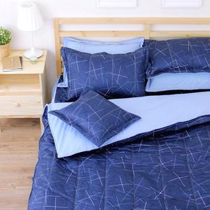 格林威治 單人鋪棉床罩組(3.5x6.2呎)五件式(100%純棉)深藍色[艾莉絲-貝倫] MIT台灣製T5H-KF2638-BU-S