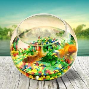 魚缸 圓型小魚缸圓形金魚缸玻璃桌面創意魚缸烏龜缸小型造景水培花瓶 伊羅鞋包