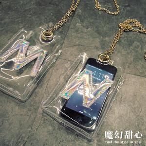 透明 斜背手機包 手機袋 .霓光雷射英文字母造型透明斜背手機包 *魔幻甜心*