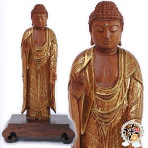阿彌陀佛{台灣肖楠木}手繪描金木雕佛像13公分【十方佛教文物】