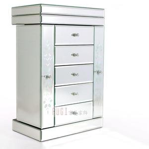 【富藝家飾】鏡面雕花珠寶首飾盒 珠寶首飾收納盒 首飾盒 首飾架 珠寶櫃 家飾品