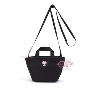 ♥小花花日本精品♥ Hello Kitty 黑色 帆布 刺繡 手提包 斜背包 外出包 兩用包 化妝包 42228202