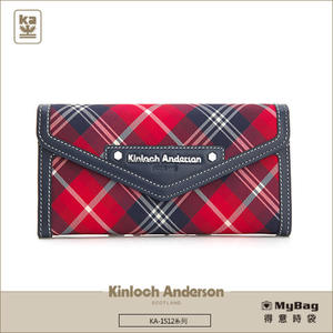 Kinloch Anderson 金安德森 皮夾 英式學院 紅藍 經典格紋長夾 牛皮女夾 KA151203  MyBag得意時袋