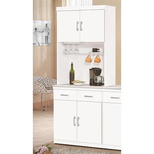 【森可家居】祖迪白色2.7尺石面雙門碗碟櫃 (上+下) 8ZX937-3 餐櫃 收納廚房櫃  北歐風