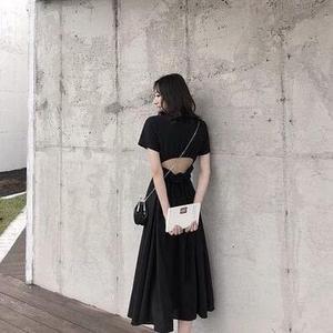 特賣款不退換短袖沙灘裙小禮服露背S-XL/30595/度假沙灘裙長裙馬爾代夫黑色露腰連衣裙1號公館