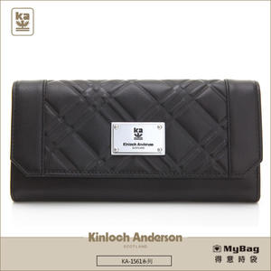 Kinloch Anderson 金安德森 皮夾 英國女爵 黑色 單面扣雙層女夾 KA156102 MyBag得意時袋