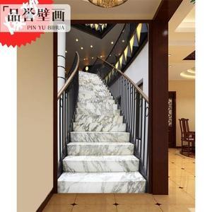 3d立體墻紙客廳玄關大理石樓梯背景墻壁紙歐式空間延伸LG-585888