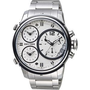 RHYTHM日本麗聲 三地時區石英手錶-銀/47mm I1502S01