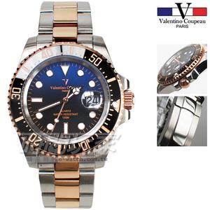 valentino coupeau 范倫鐵諾 夜光時刻 不鏽鋼 男錶 藍色漸層面盤 潛水錶 水鬼 玫瑰金 石英錶 V61589TRG