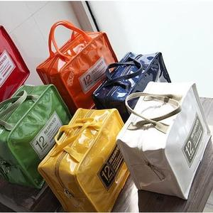 2019新款手提包飯盒袋漆皮PU野餐包保冷冰包午餐便當包女包防水保溫袋
