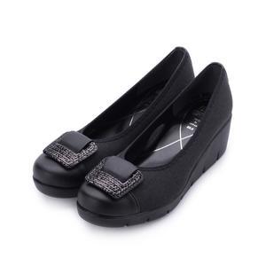FIRST CONTACT 方釦亮片楔型鞋 黑 39604 女鞋 鞋全家福
