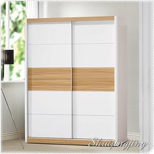 【水晶晶家具/傢俱首選】BL9119-8 寶格麗5*7呎木紋白雙拉門衣櫃