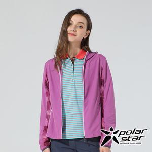 PolarStar 女 休閒抗UV連帽外套『紅紫』P20108 戶外 休閒 露營 防曬 透氣 吸濕 排汗 彈性 抗紫外線