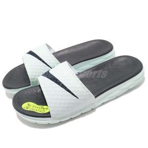 Nike 拖鞋 Wmns Benassi Solarsoft 粉藍 藍 輕量 舒適中底 基本款 涼拖鞋 女鞋【PUMP306】 705475-303
