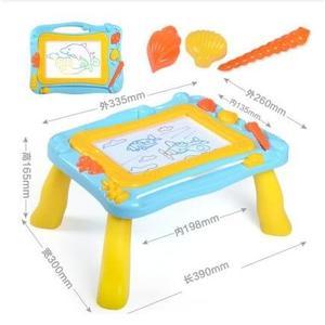 【二合一畫板桌-藍色】彩色磁性畫板幼兒童磁性小黑板1-2-3歲塗鴉板玩具