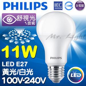 【有燈氏】PHILIPS 飛利浦 LED E27 11W 舒適光 柔光網點 球泡 燈泡 無藍光【PH-E2711W】