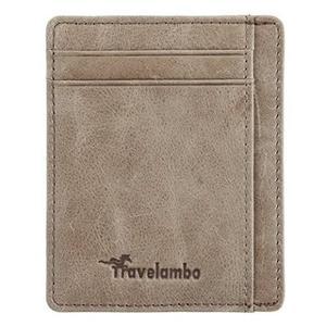 Travelambo-RFID技術真皮輕巧蔬菜曬皮夾(蠟灰色)
