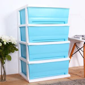 【HOUSE】大面寬-夏日超大四層玩具衣物收納櫃(多色可選)藍色