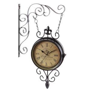 復古雙面掛鐘/歐式懷舊/地中海風格/靜音機芯/鐵藝雙面鐘