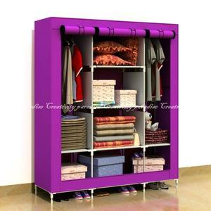 【三門衣櫃】DIY組裝三開式無紡布覆膜衣櫥多層收納置物櫃衣櫃