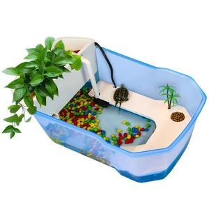 魚缸 烏龜小烏龜缸帶曬台大型養龜的專用缸魚缸養烏龜別墅水龜盆水陸缸 宜品