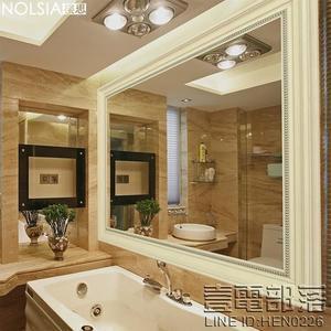 美式浴室鏡復古做舊歐式浴室柜鏡子壁掛衛生間廁所裝飾鏡子